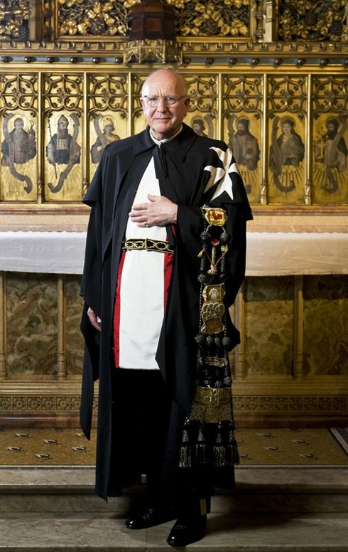 Fra' Paul Sutherland in the full Church robes of a Knight of Justice