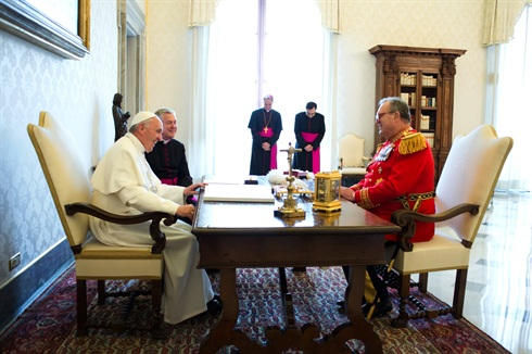 Pope Francis and Fra'Matthew Festing in discussion, Vatican, 24 June 2013