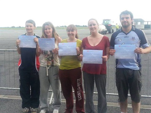 The high five! Irish volunteers in fundraising skydive