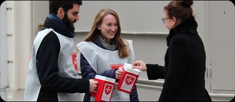 Volunteers on a Paris street collect for World Leprosy Day