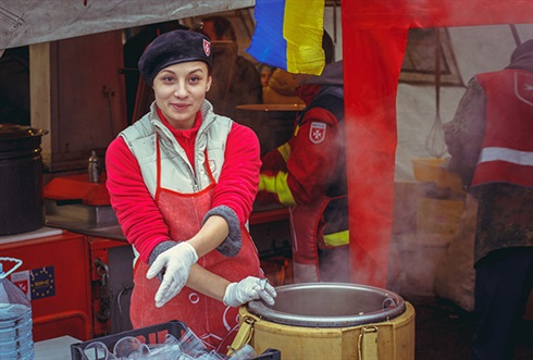 Maidan, kiev-Order of Malta soup kitchen volunteer