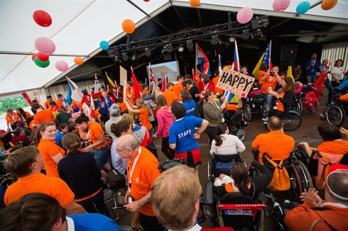 Harskamp, Holland: the 31st international summer camp for disabled young opens