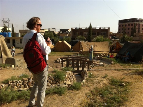 Erbil, Iraq: Oliver Hochedez, Malteser International team leader, surveys a refugee camp