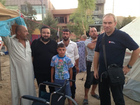 Erbil, Iraq: wheelchairs are delivered to the refugee camp
