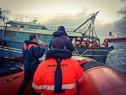 Lampedusa: Order of Malta medical teams prepare to board a migrant boat