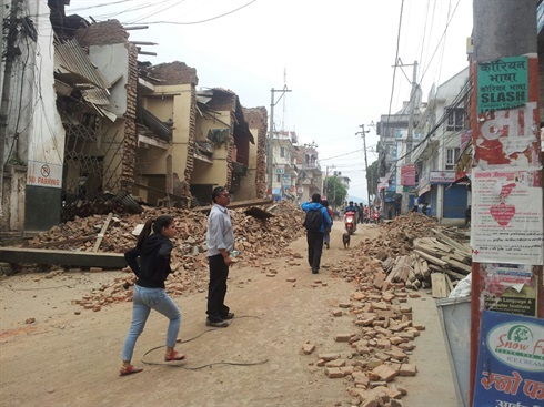 Nepal earthquake: destruction at Lalitpur