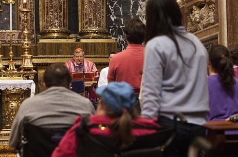 Cardinal Burke addresses the OMV pilgrims, Santa Maria Maggiore