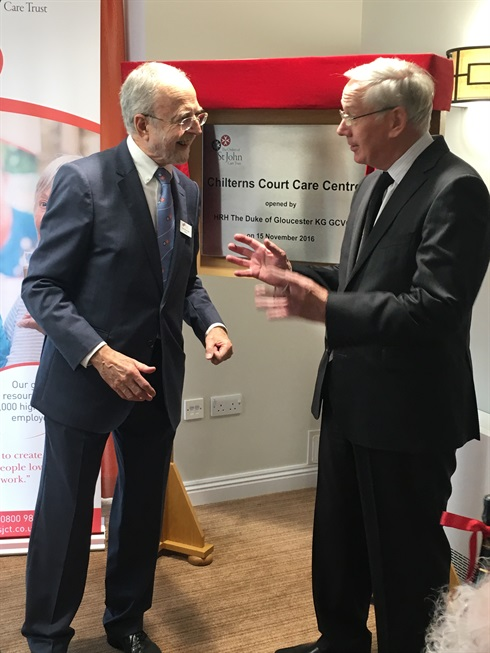 OSJCT Chairman Don Wood and HRH Duke of Gloucester compare notes