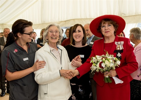 Ceremony gathering-resident, Admiral nurse Ruth Stirton, the Lord Lieutenant
