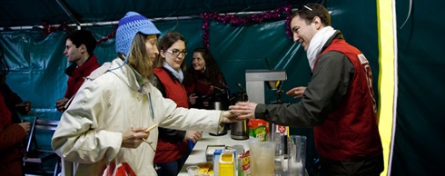 In Paris, dispensing hot soup to the homeless