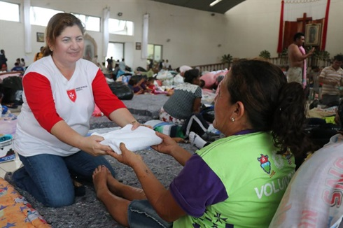 Guatemala volcano - aid for victim in Order of Malta temporary shelter