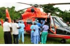 Haiti  Earthquake - First patients arrive by helicopter at the Order's Hopital Sacre Coeur, Milot (1)