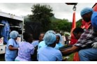 Haiti  Earthquake - First patients arrive by helicopter at the Order's Hopital Sacre Coeur, Milot (3)
