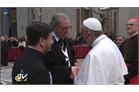 Pope Francis greets Grand Master Matthew Festing