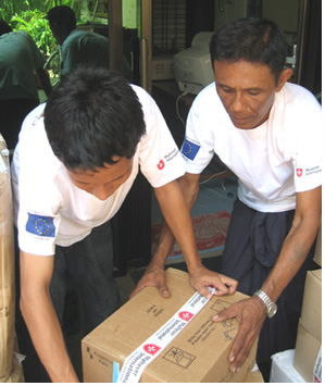 Supplies being packaged by local volunteers.