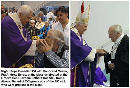 Pope Benedict at San Giovanni Battista Hospital in Rome.