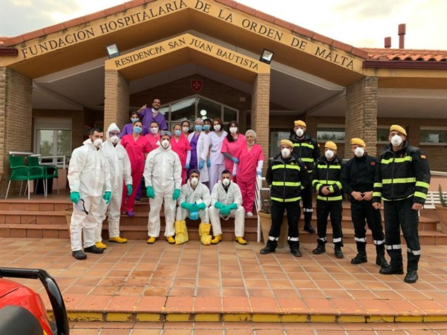 Medical staff of the San Juan Bautista residential home Madrid